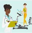 Caucasian woman exercising on elliptical trainer