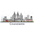 changwon south korea city skyline with color vector image vector image