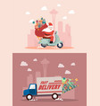 christmas delivery service by truck and motorbike vector image vector image