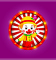 clown banner with bright bulbs vector image vector image