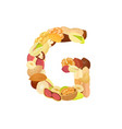 delicious letter made from different nuts g vector image