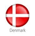 denmark round button flag vector image vector image