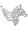 entangle stylized cartoon zebra with wings vector image vector image