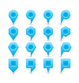 Flat blue color map pin sign location icon vector image vector image