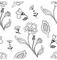 floral monochrom seamless pattern vector image vector image