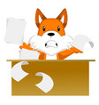fox working on white background vector image vector image