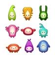 funny colorful cartoon aliens set vector image