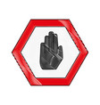 grated warning metal notices with stop sign vector image vector image