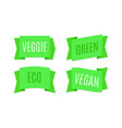 green ribbons banners eco and bio tags vector image vector image