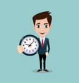 happy businessman stand leaning to big clock vector image