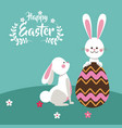 happy easter bunnies playing egg chocolate vector image vector image