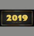 happy new year card 3d gold number 2019 with text vector image vector image