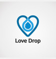 love drop with blue color logo icon element and vector image vector image