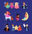 magic kid in fairytale costume vector image vector image