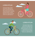 Man and woman ride on bicycle Cartoon poster vector image vector image