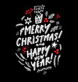 merry christmas lettering on a black background vector image vector image