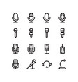 microphone outline icon set vector image