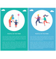 people in park poster mother daughter couple run vector image