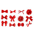 realistic bow set red silk ribbons with vector image vector image
