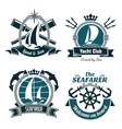 Retro marine and nautical symbols vector image vector image