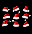 santa claus hats realistic christmas holiday red vector image