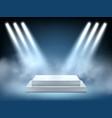 scene realistic lighting interior winner podium vector image