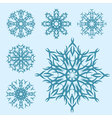set of blue snowflakes of different shapes vector image