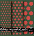 set of christmas polka dot backgrounds vector image vector image