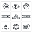 Set of Karting Icons Helmet Pedestal vector image vector image