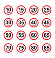 set red speed limit street sign vector image