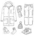 sketch set winter men clothes vector image vector image