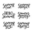summer hand drawn lettering set vector image vector image