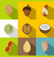tasty nuts icons set flat style vector image