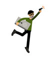 thief character running with a safe and gun vector image vector image