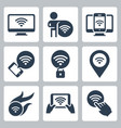 wifi related icon set in glyph style vector image