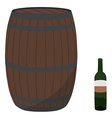 Wine barrel and bottle vector image vector image
