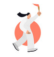 woman running and carries olympic torch flat vector image