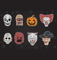 all halloween mask in one vector image vector image