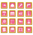 architecture icons pink vector image