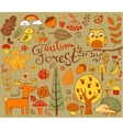 Autumn Forest design elements in doodle style vector image vector image