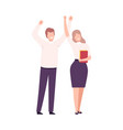 business people celebrating victory successful vector image vector image
