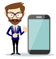 Businessman showing phone smartphone vector image vector image