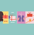 cards with gift hands holding present boxes vector image