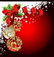 christmas balls and bow vector image vector image