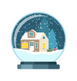 christmas snow globe with house and trees vector image