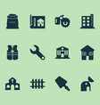 construction icons set with milling machine fence vector image