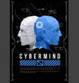 cyber mind concept poster with low poly head vector image vector image
