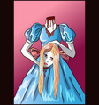 decapitated blonde woman with her head in her hand vector image vector image