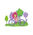 ecology young woman riding bike in outdoor vector image