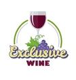 Exclusive Wine Logo Icon Symbol of Elite Drink vector image
